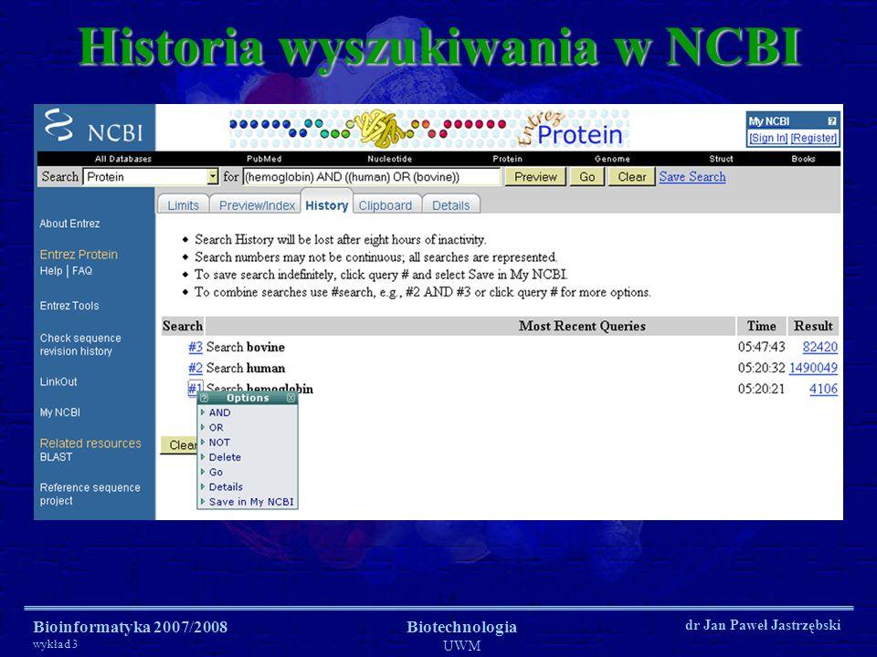 Historia wyszukiwania w NCBI
