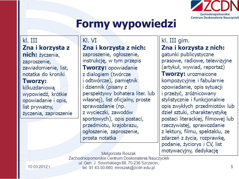 Formy wypowiedzi kl. III