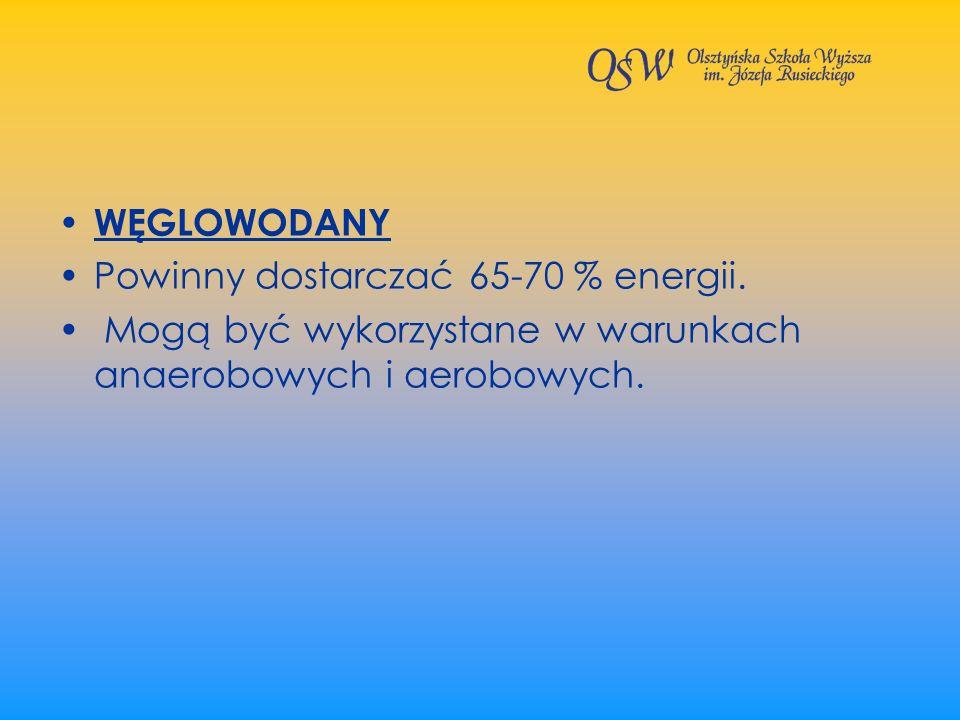 WĘGLOWODANY Powinny dostarczać 65-70 % energii.