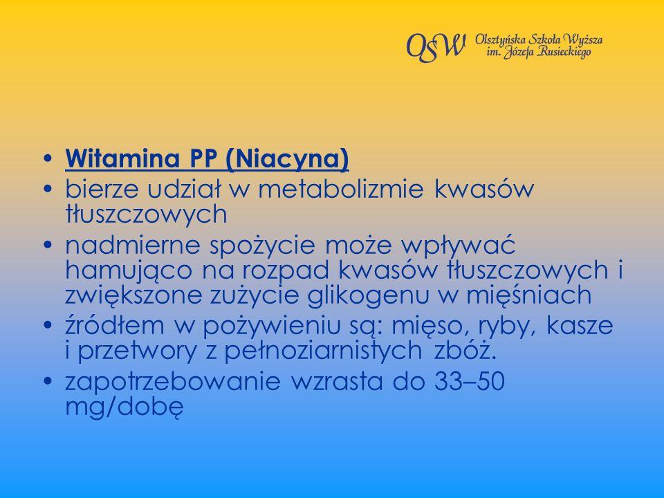 Witamina PP (Niacyna) bierze udział w metabolizmie kwasów tłuszczowych.