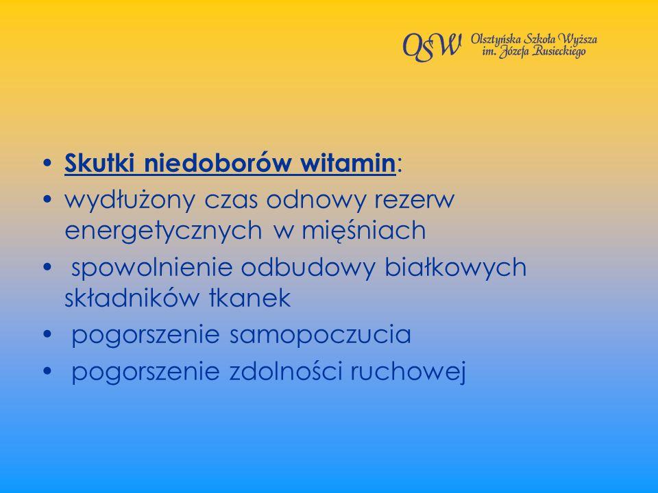 Skutki niedoborów witamin: