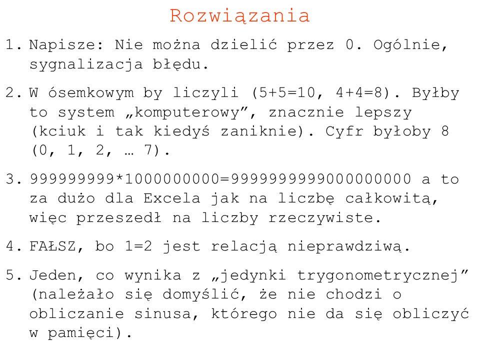 Rozwiązania Napisze: Nie można dzielić przez 0. Ogólnie, sygnalizacja błędu.