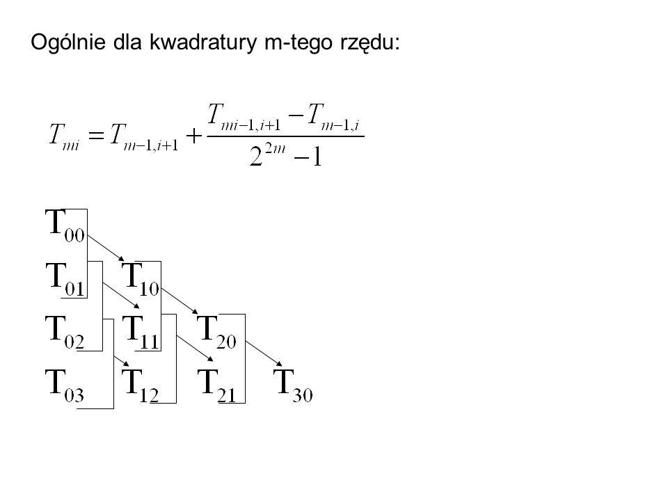 Ogólnie dla kwadratury m-tego rzędu: