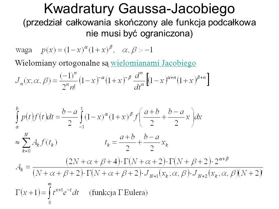 Kwadratury Gaussa-Jacobiego (przedział całkowania skończony ale funkcja podcałkowa nie musi być ograniczona)