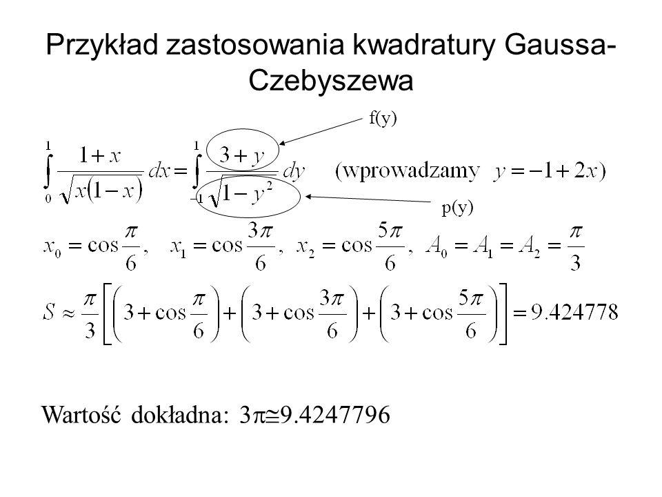 Przykład zastosowania kwadratury Gaussa-Czebyszewa