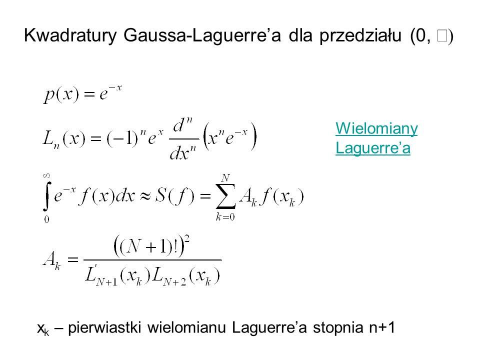 Kwadratury Gaussa-Laguerre'a dla przedziału (0, ¥)