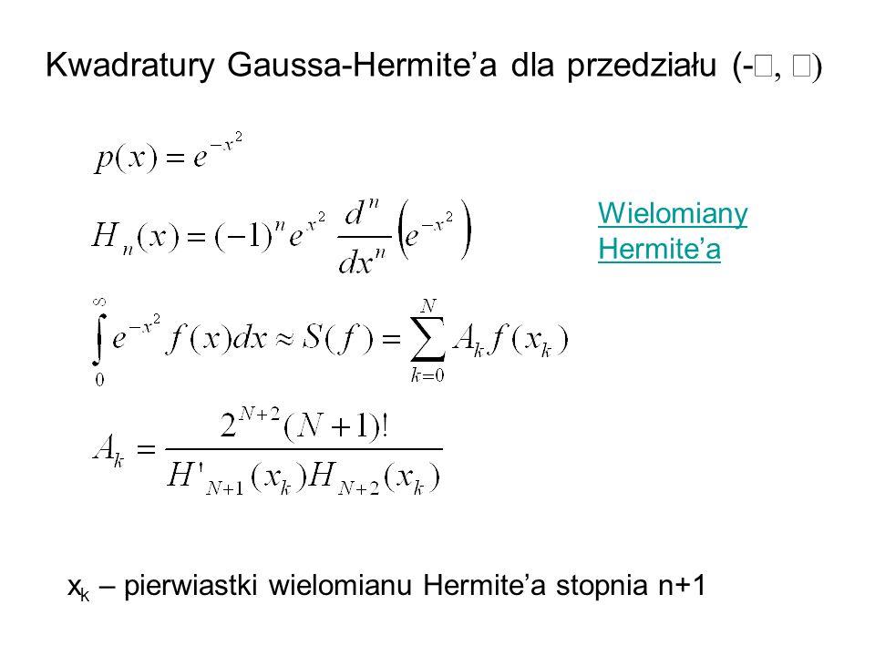 Kwadratury Gaussa-Hermite'a dla przedziału (-¥, ¥)