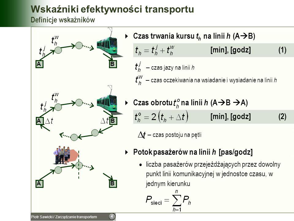 Wskaźniki efektywności transportu Definicje wskaźników