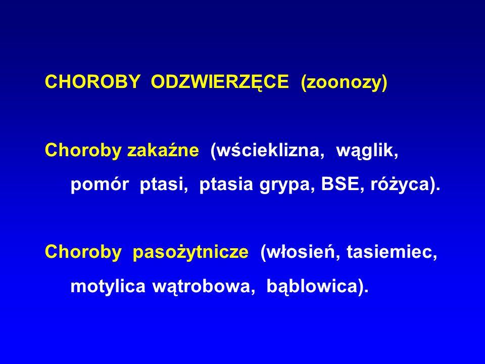 CHOROBY ODZWIERZĘCE (zoonozy)