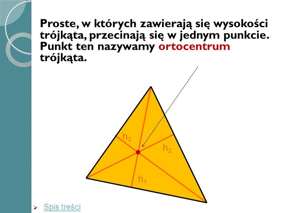 Proste, w których zawierają się wysokości trójkąta, przecinają się w jednym punkcie. Punkt ten nazywamy ortocentrum trójkąta.