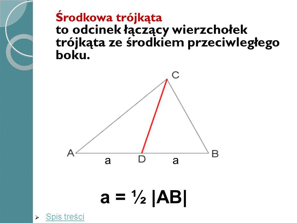 Środkowa trójkąta to odcinek łączący wierzchołek trójkąta ze środkiem przeciwległego boku.