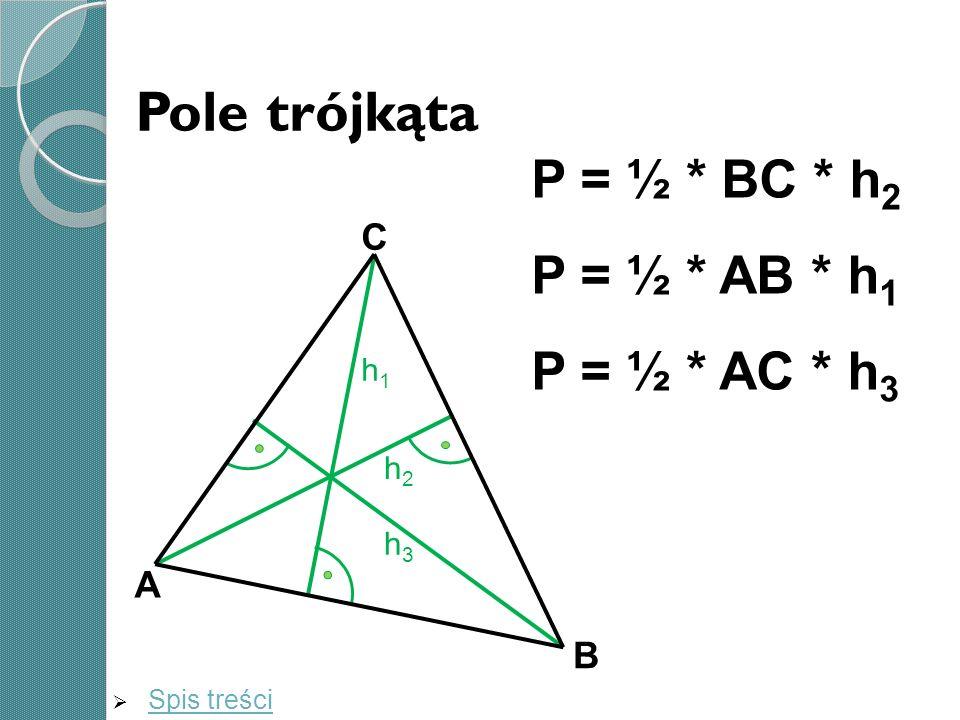 Pole trójkąta P = ½ * BC * h2 P = ½ * AB * h1 P = ½ * AC * h3 C A B h1