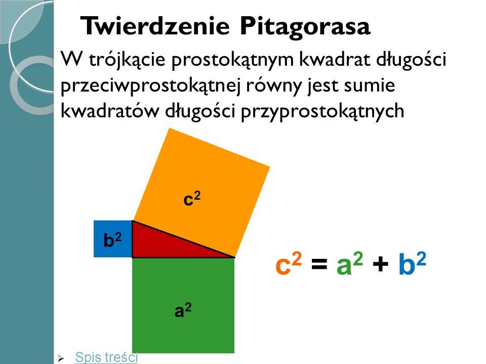 c2 = a2 + b2 Twierdzenie Pitagorasa