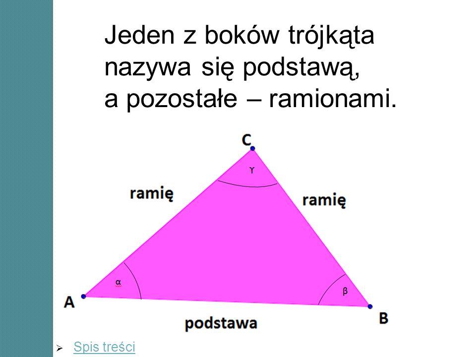 Jeden z boków trójkąta nazywa się podstawą, a pozostałe – ramionami.