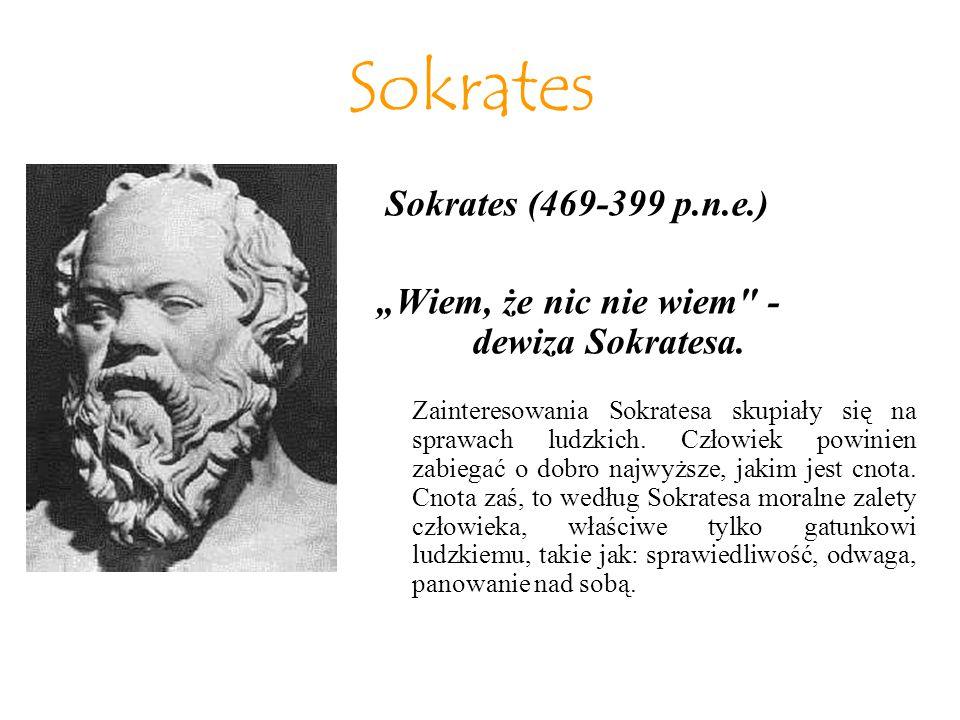 """Sokrates """"Wiem, że nic nie wiem - dewiza Sokratesa."""