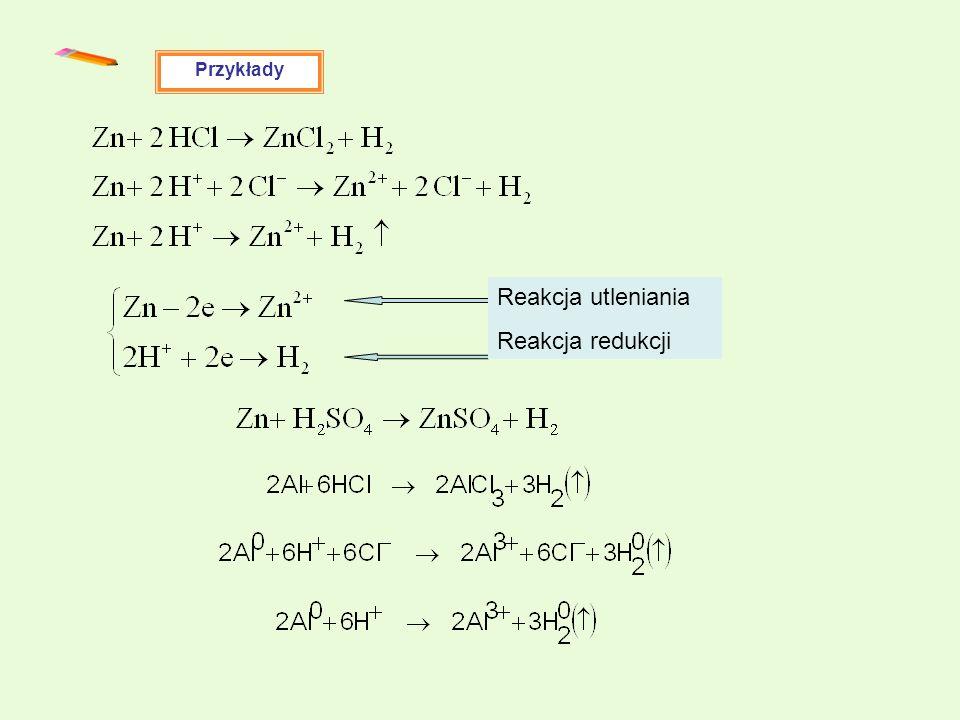 Przykłady Reakcja utleniania Reakcja redukcji