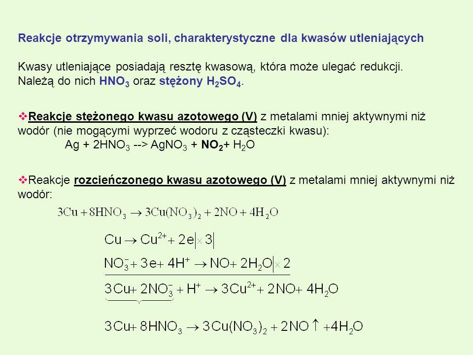 Reakcje otrzymywania soli, charakterystyczne dla kwasów utleniających