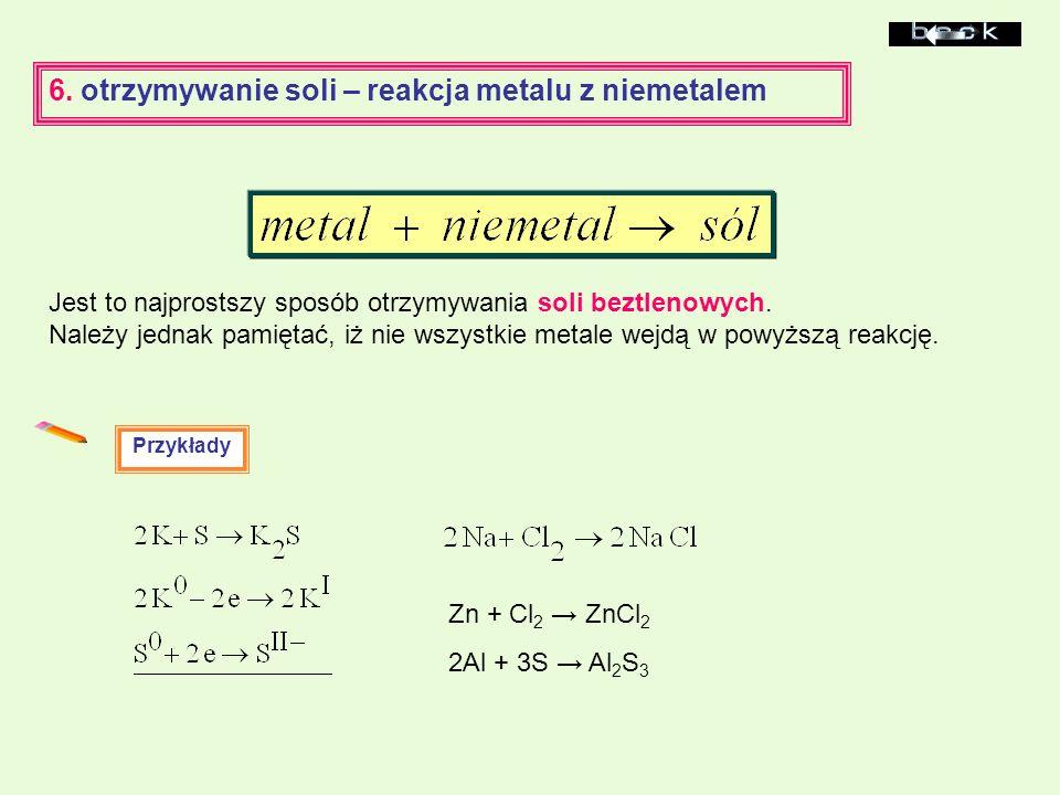 6. otrzymywanie soli – reakcja metalu z niemetalem