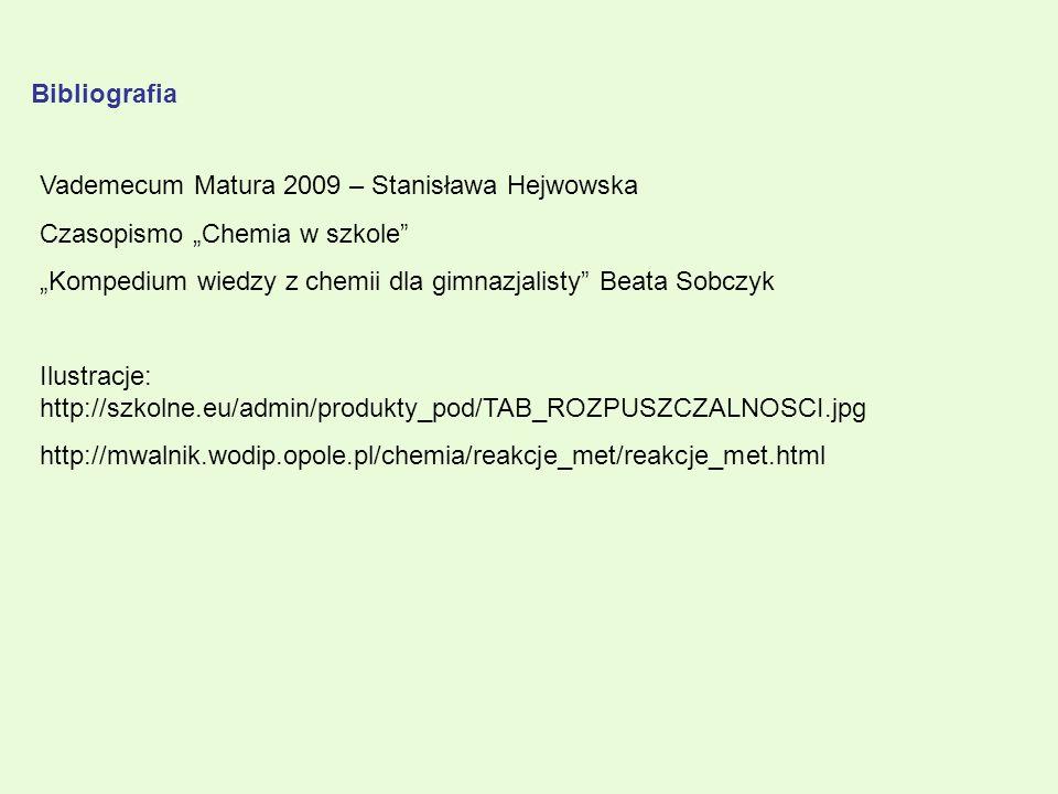"""Bibliografia Vademecum Matura 2009 – Stanisława Hejwowska. Czasopismo """"Chemia w szkole """"Kompedium wiedzy z chemii dla gimnazjalisty Beata Sobczyk."""
