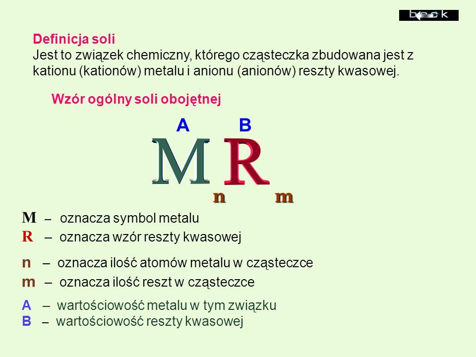 A B n m M – oznacza symbol metalu R – oznacza wzór reszty kwasowej