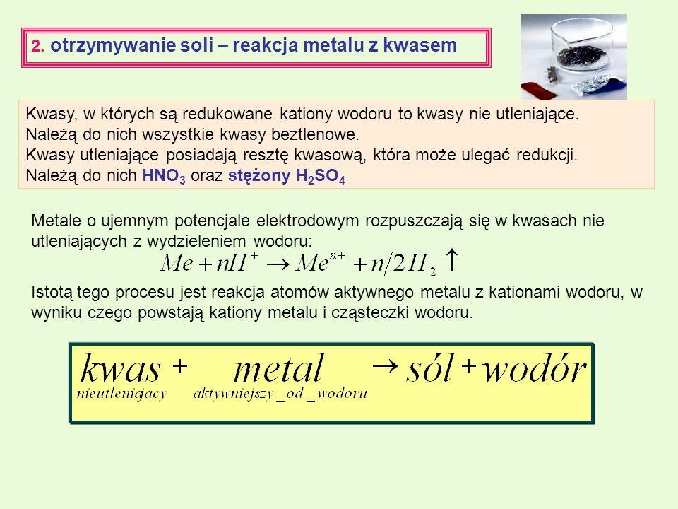2. otrzymywanie soli – reakcja metalu z kwasem