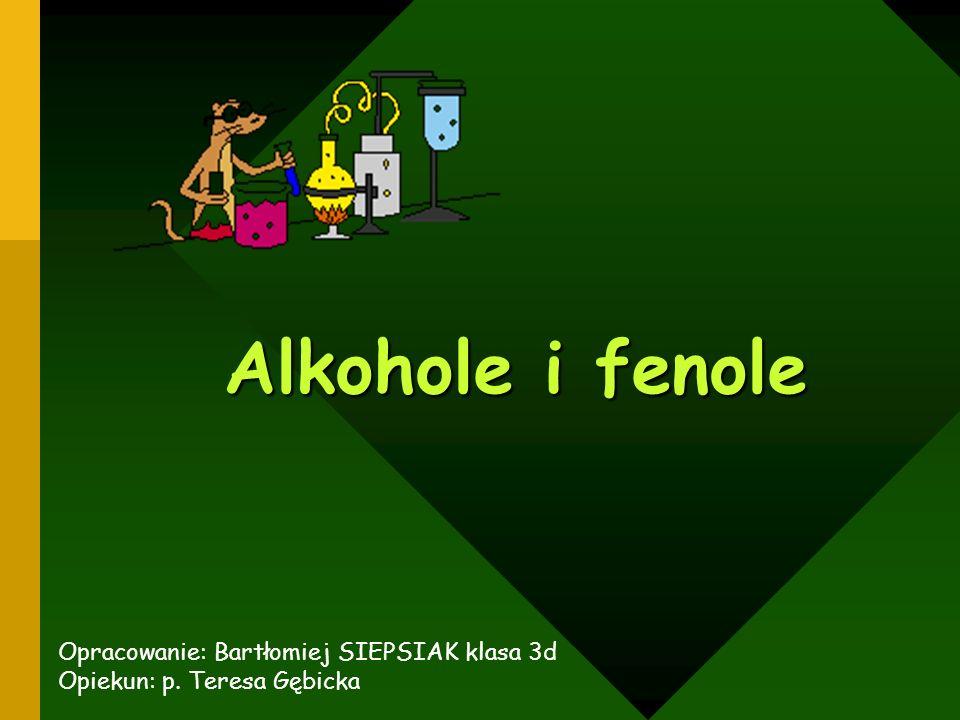 Alkohole i fenole Opracowanie: Bartłomiej SIEPSIAK klasa 3d