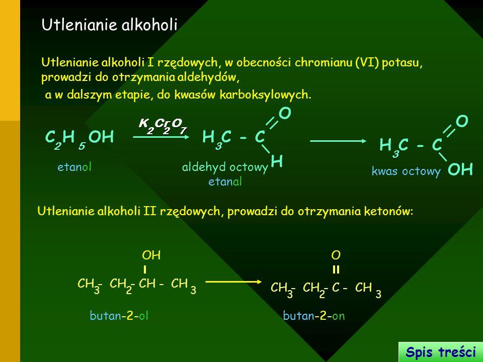 Utlenianie alkoholi C H OH H O H C - C OH O H C - C Spis treści