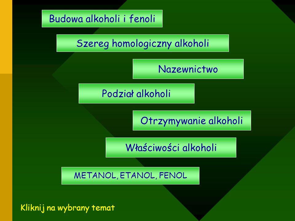 Budowa alkoholi i fenoli