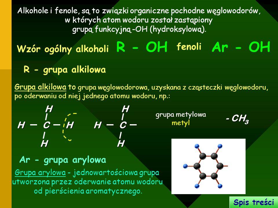 R - OH Ar - OH fenoli Wzór ogólny alkoholi R - grupa alkilowa C H C H