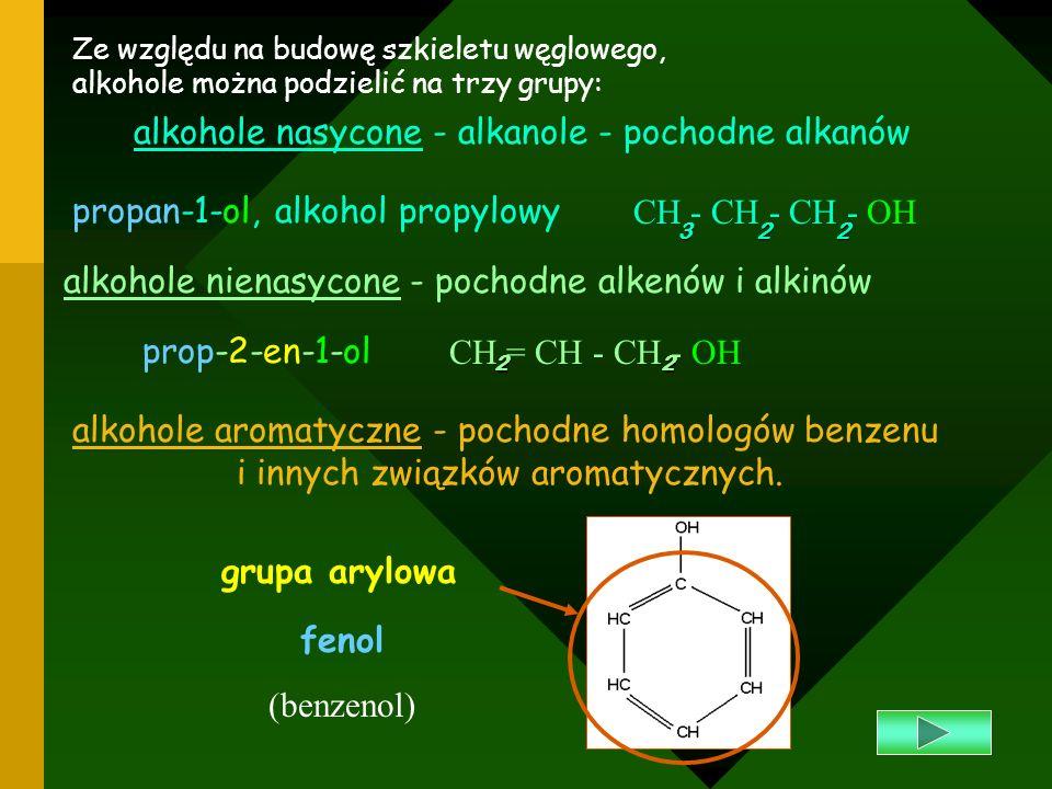 alkohole nasycone - alkanole - pochodne alkanów
