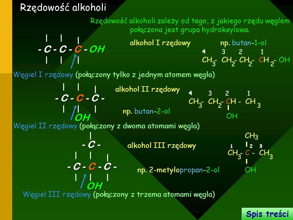 Rzędowość alkoholi OH - C - C - C - - C - C - C - OH - C -