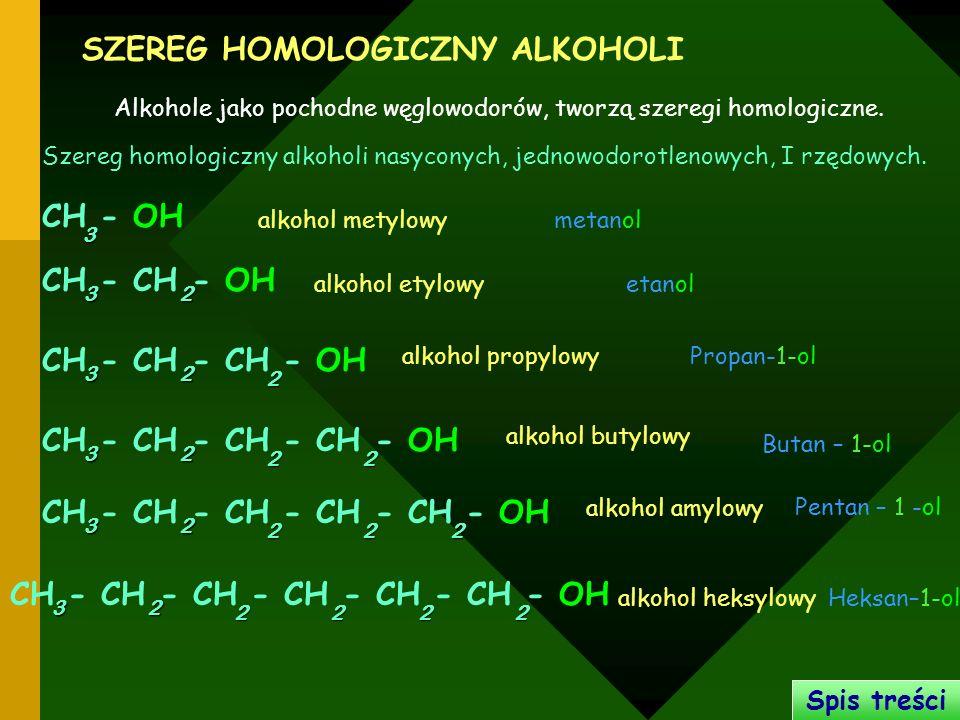 SZEREG HOMOLOGICZNY ALKOHOLI