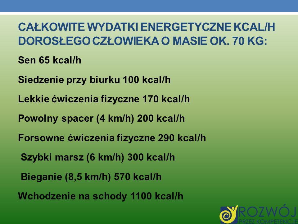 Całkowite wydatki energetyczne kcal/h dorosłego człowieka o masie ok