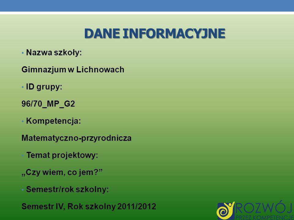 Dane INFORMACYJNE Nazwa szkoły: Gimnazjum w Lichnowach ID grupy:
