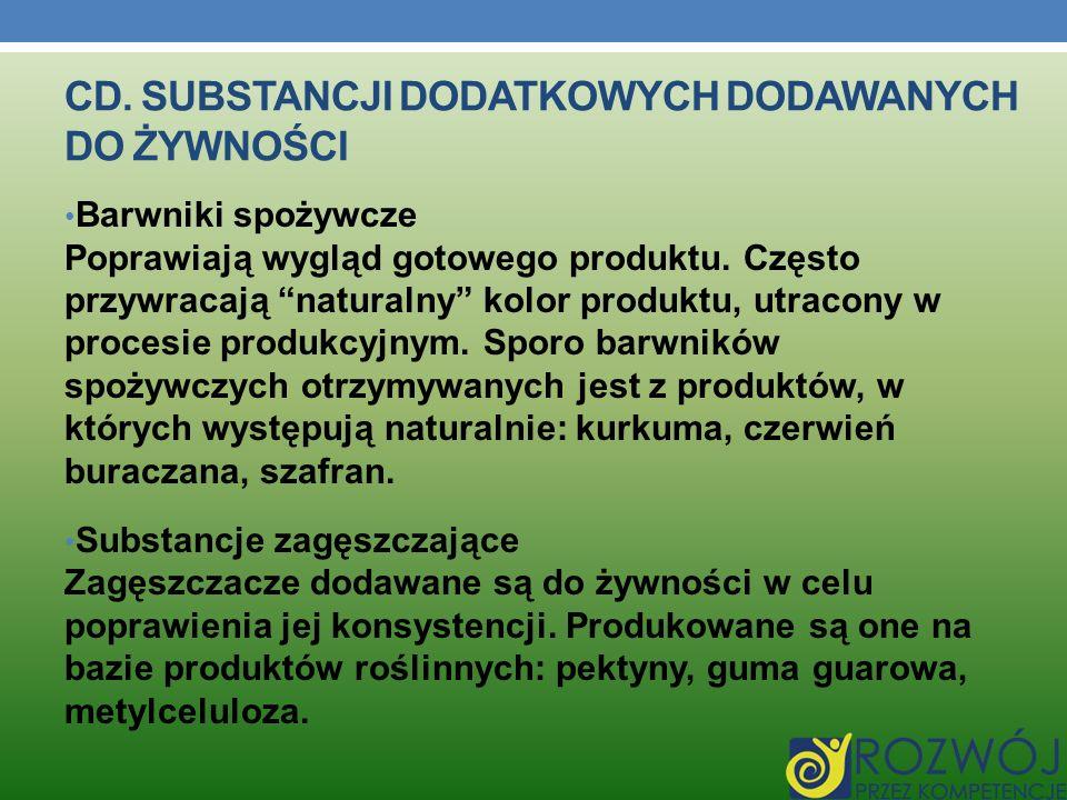 CD. Substancji dodatkowych dodawanych dO Żywności