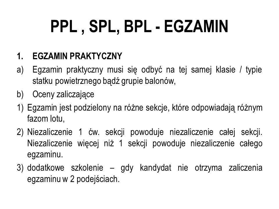 PPL , SPL, BPL - EGZAMIN EGZAMIN PRAKTYCZNY
