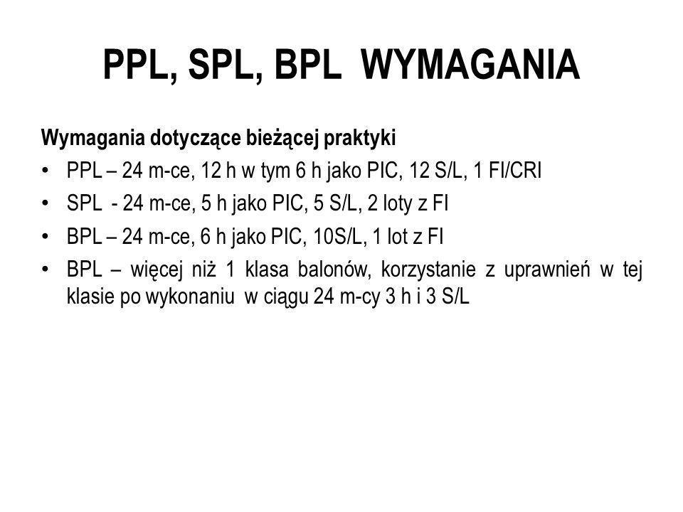 PPL, SPL, BPL WYMAGANIA Wymagania dotyczące bieżącej praktyki