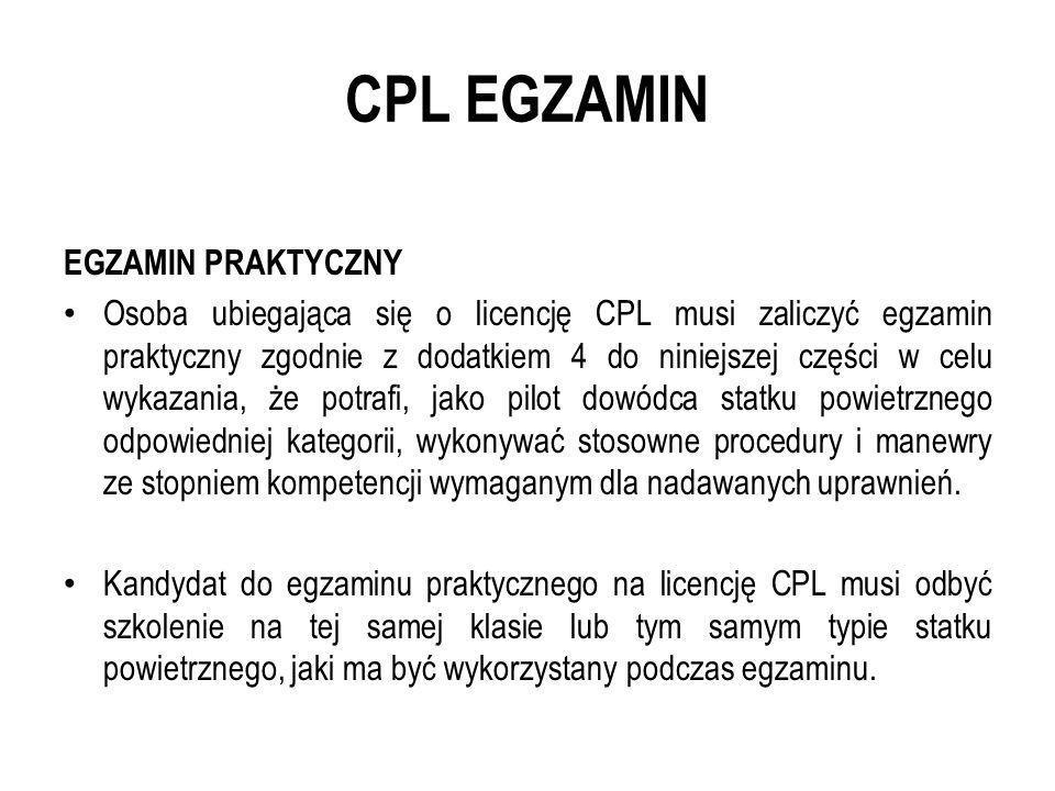 CPL EGZAMIN EGZAMIN PRAKTYCZNY