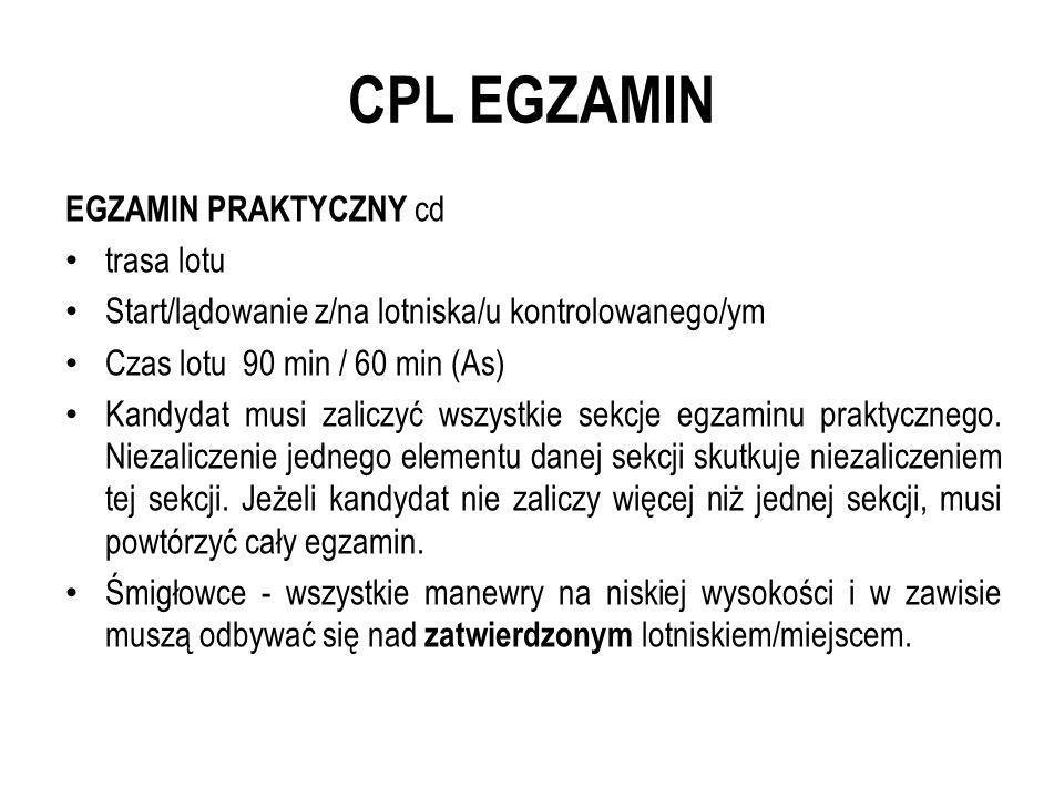 CPL EGZAMIN EGZAMIN PRAKTYCZNY cd trasa lotu