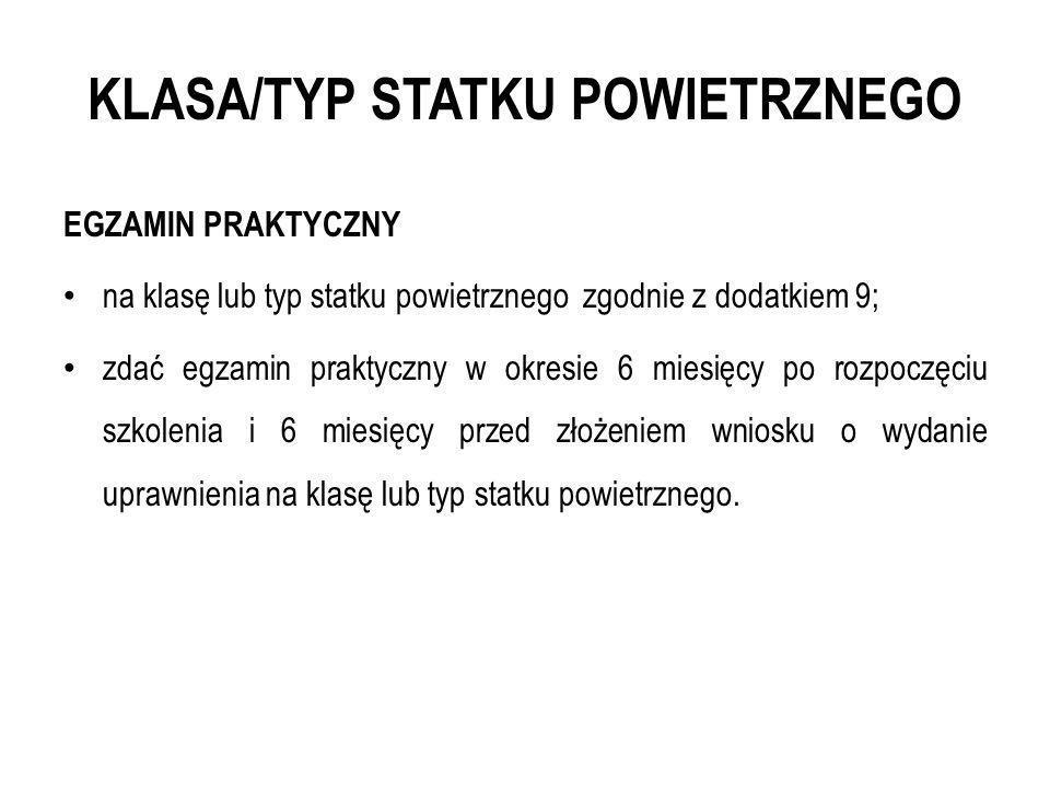 KLASA/TYP STATKU POWIETRZNEGO