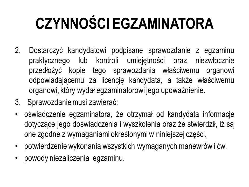 CZYNNOŚCI EGZAMINATORA