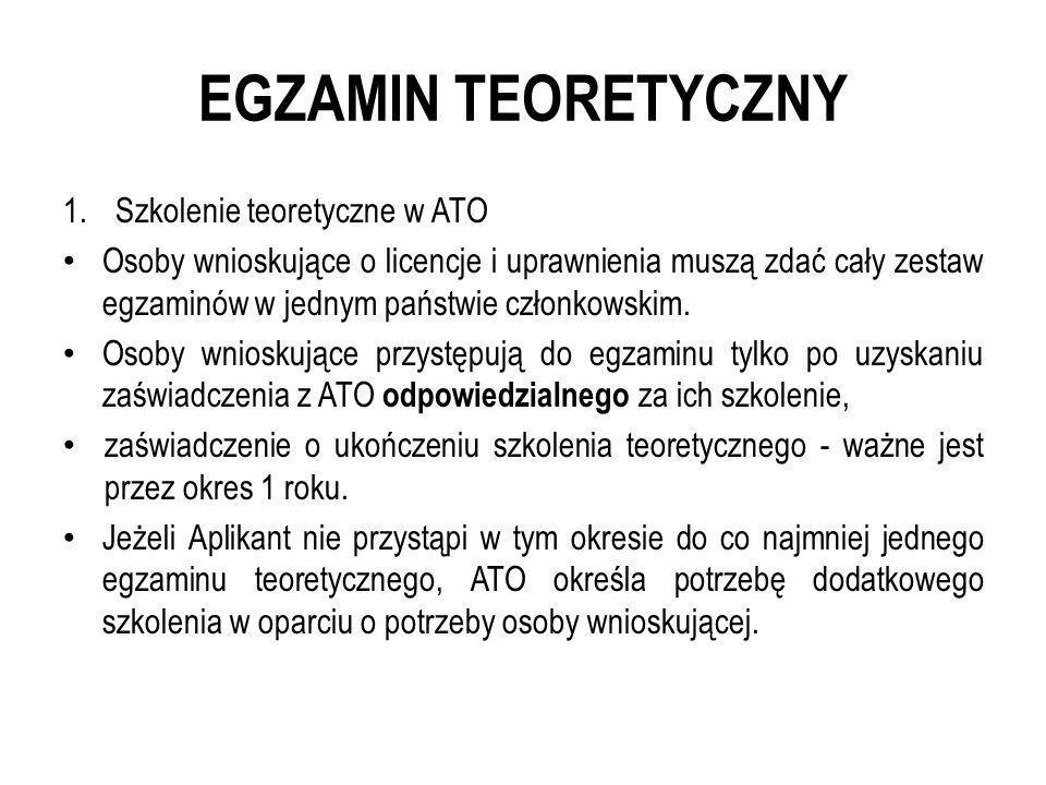 EGZAMIN TEORETYCZNY Szkolenie teoretyczne w ATO
