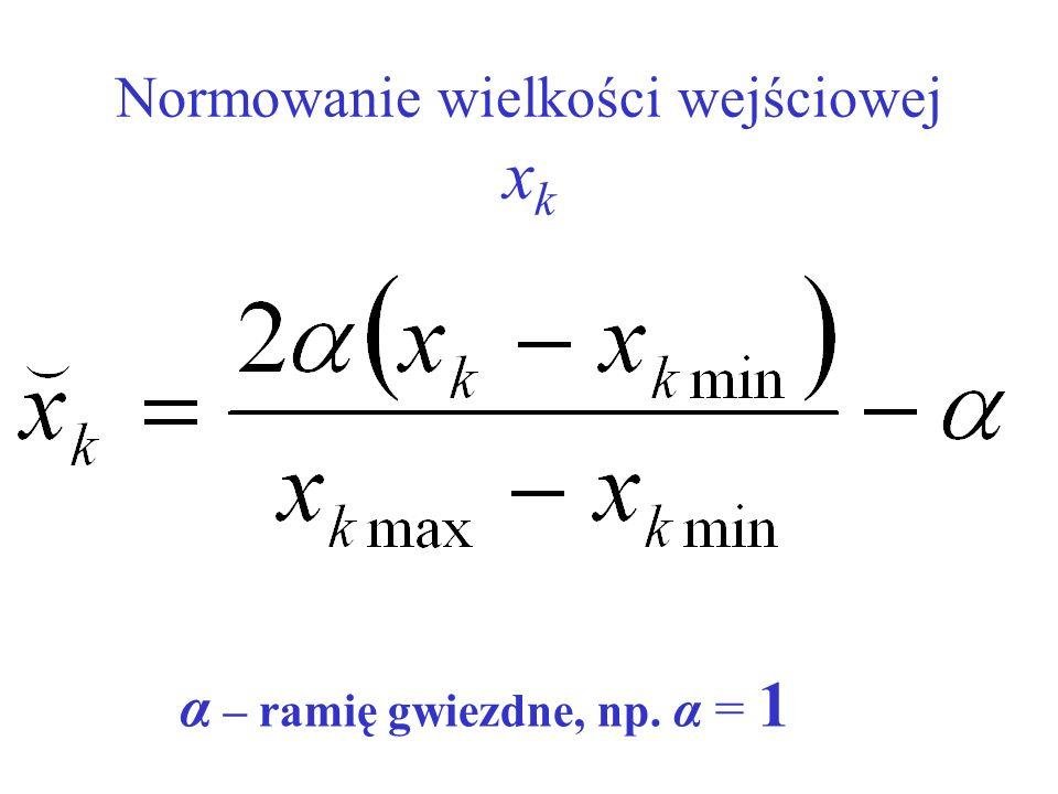 Normowanie wielkości wejściowej xk