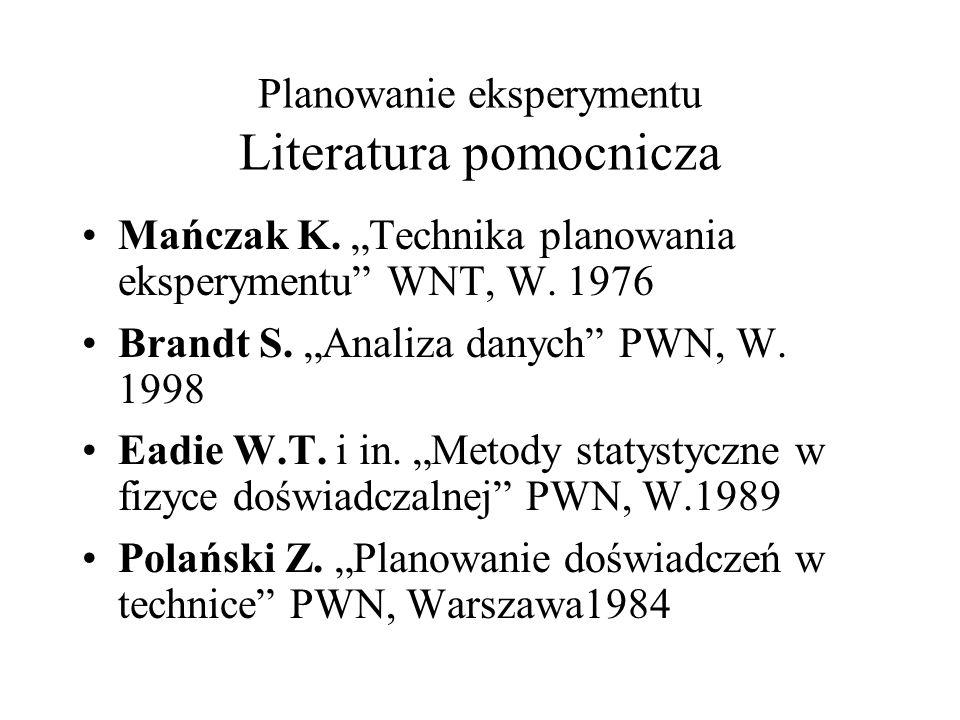 Planowanie eksperymentu Literatura pomocnicza