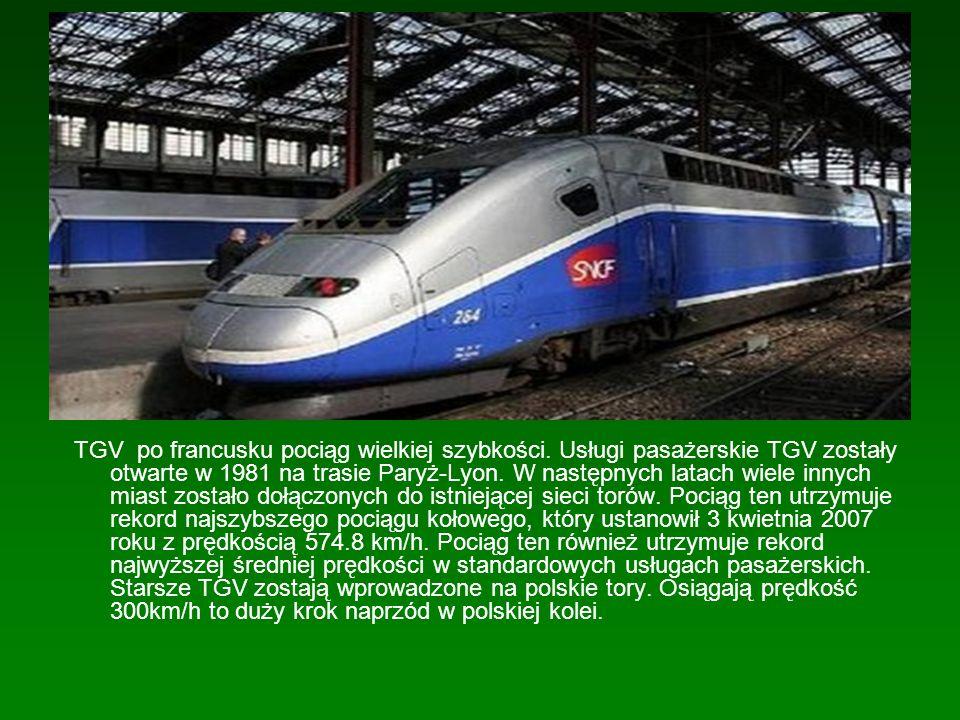 TGV po francusku pociąg wielkiej szybkości