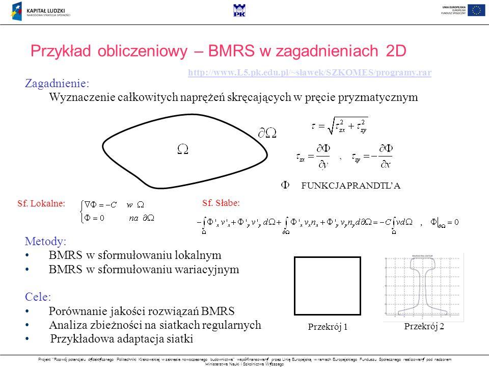 Przykład obliczeniowy – BMRS w zagadnieniach 2D