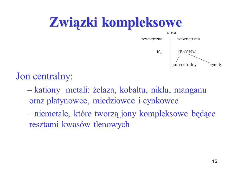 Związki kompleksowe Jon centralny: