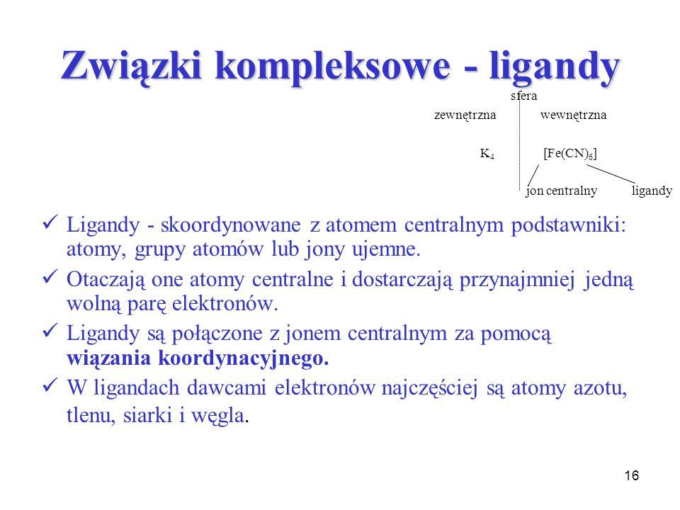 Związki kompleksowe - ligandy