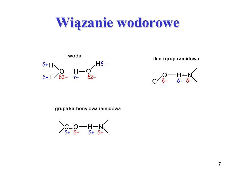 Wiązanie wodorowe woda tlen i grupa amidowa