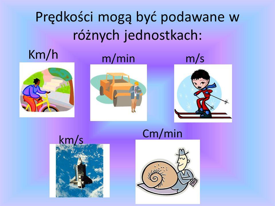 Prędkości mogą być podawane w różnych jednostkach: